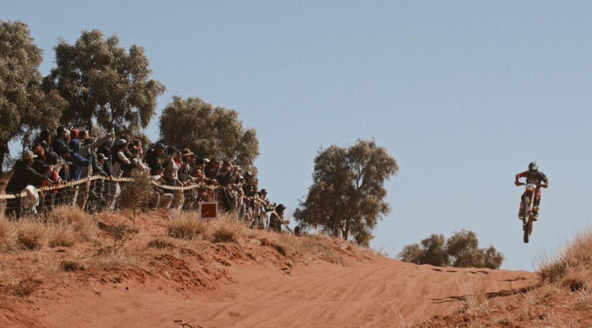 riders daring to fly in a crazy desert race
